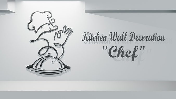 Kitchen Wall Decoration Chef 3d Cgtrader