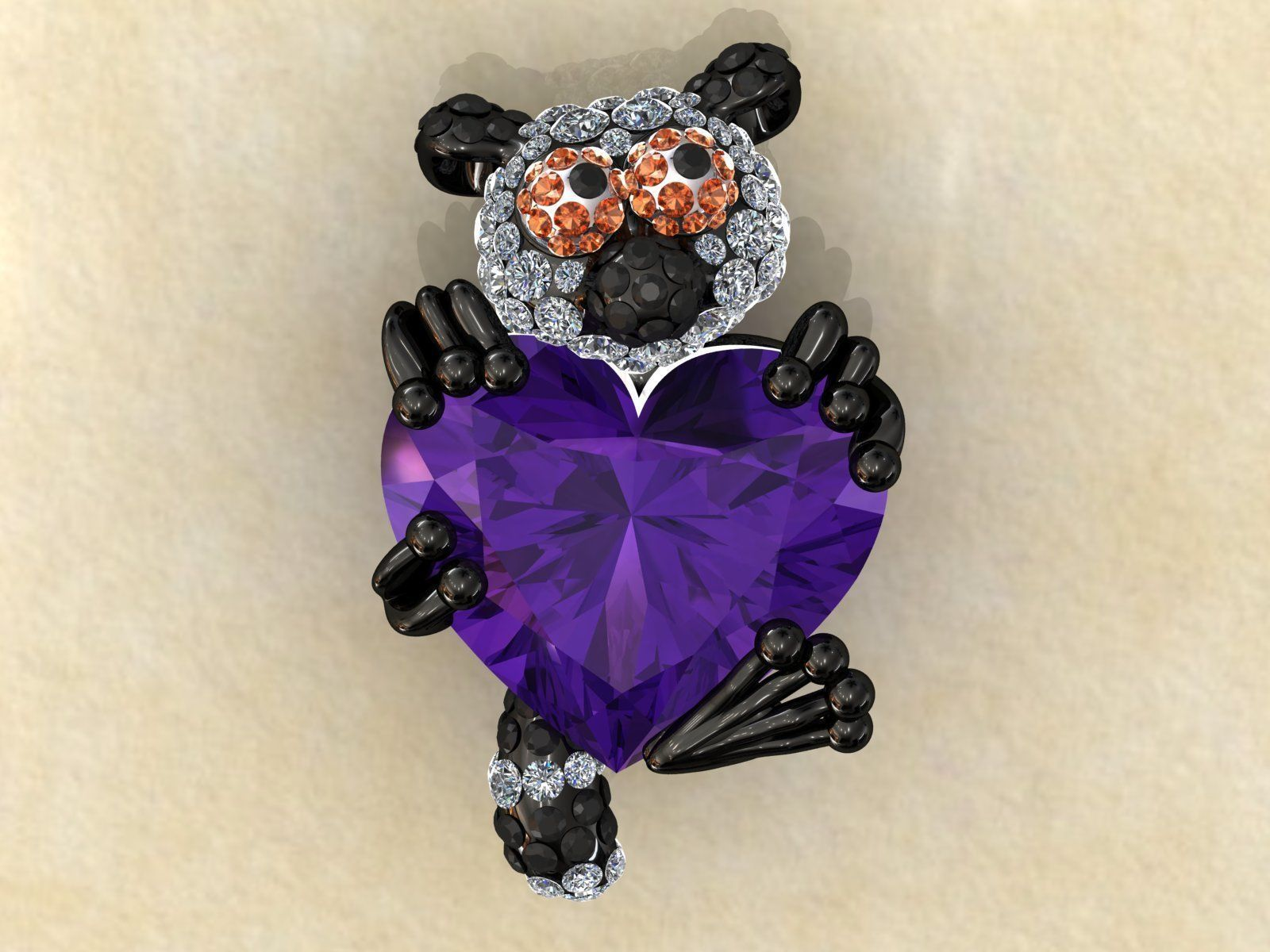 Lemur Heart Stone Charms Pendant
