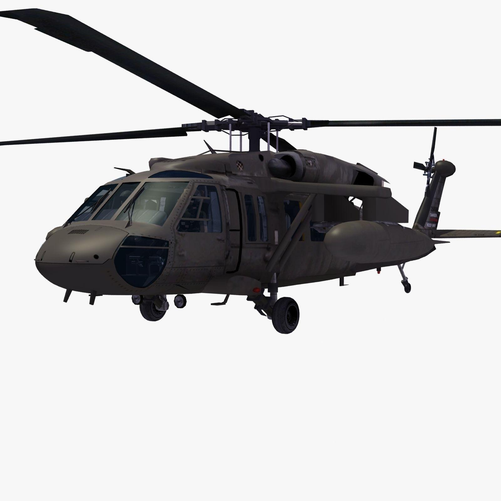 UH60 Blackhawk Helicopter 3D Model MAX OBJ 3DS FBX LWO LW