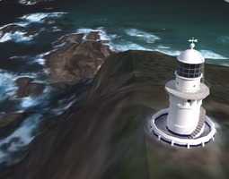 3D Sugarloaf Point Lighthouse Low Poly