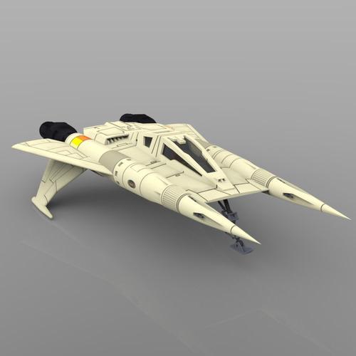 buck rogers starfighter 3d model obj 4