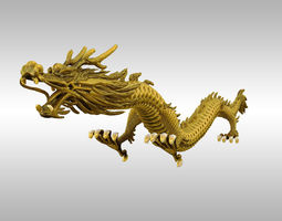 rigged VR / AR ready chinese gold dragon 3d asset