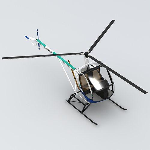 schweizer 300 helicopter 3d model obj mtl 3ds lwo lw lws blend 1
