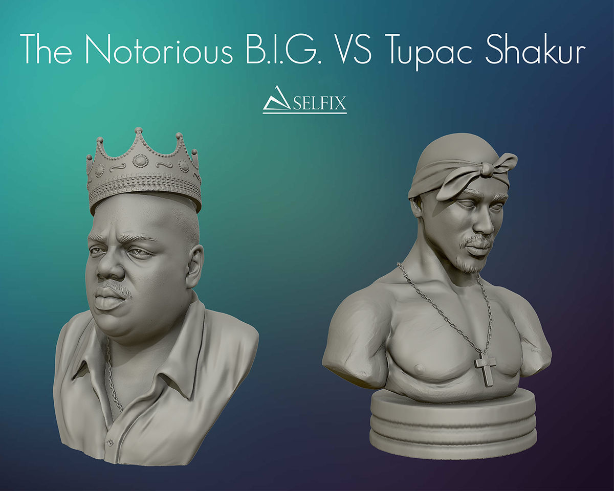 Tupac Shakur and The Notorious BIG sculptures