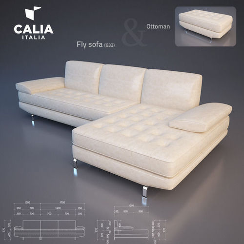 3d model calia italia fly sofa cgtrader. Black Bedroom Furniture Sets. Home Design Ideas