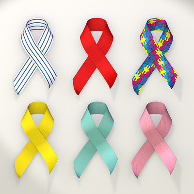 awareness ribbon collection 3d model 3ds lwo lw lws 1