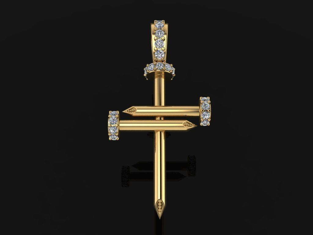 Nail Cross DiamondPendant Mid Size