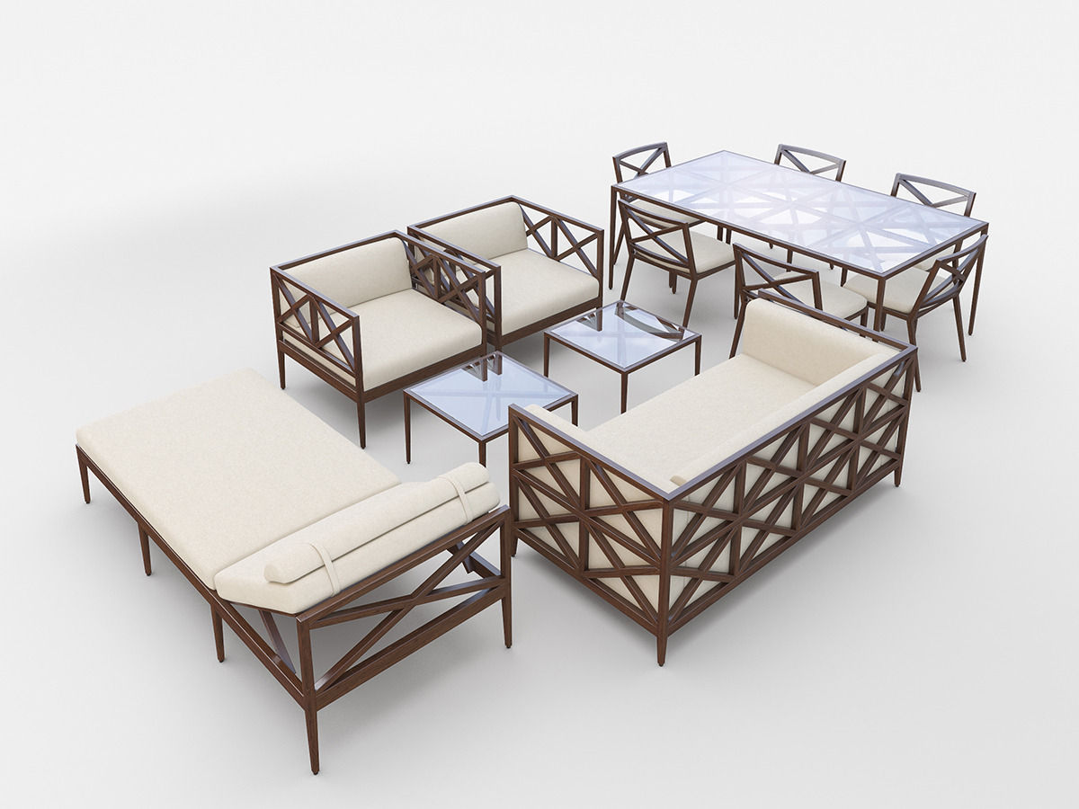 Azimuth furniture collection 3d model for Garden design in 3ds max