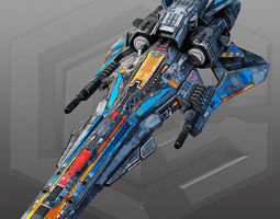3d asset realtime sci fi light fighter x6