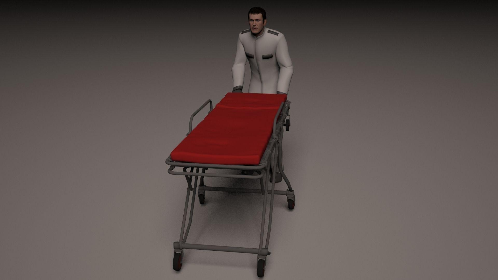 Hospital orderly pushing stretcher