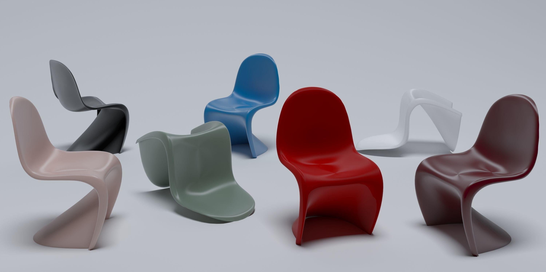 Panton chair farklı renkler ve duruşlarda.