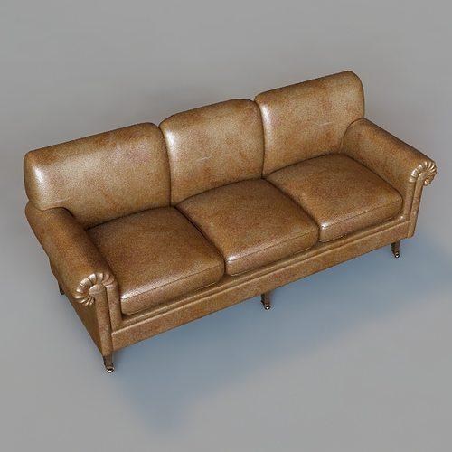 Rolled arm sofa 3d model max obj 3ds fbx for Divan furniture models