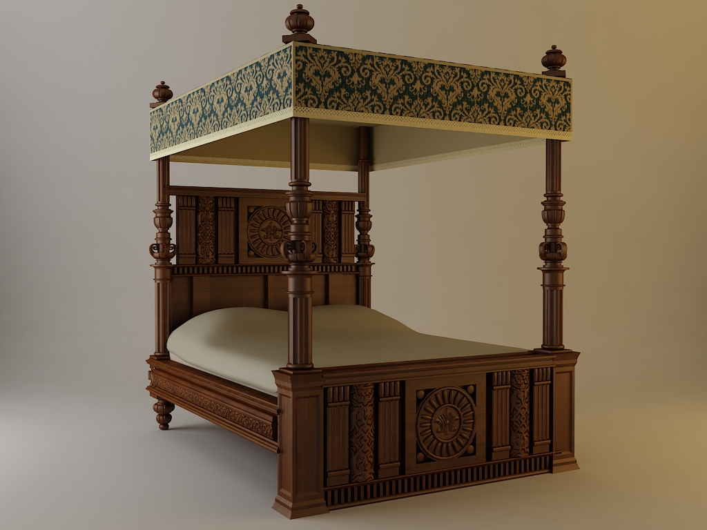 - 3D Antique Canopy Bed CGTrader