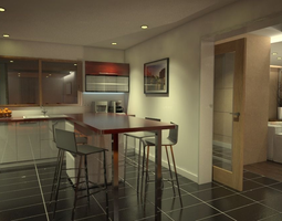 dishwasher 3D model kitchen