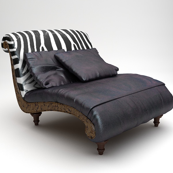 Attractive Zebra Settee Lounge Chair Sofa 3d Model Max Obj 3ds Fbx Mtl Unitypackage 1  ...