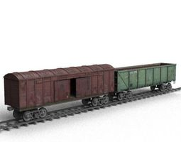 Railroad car on rails 3D asset