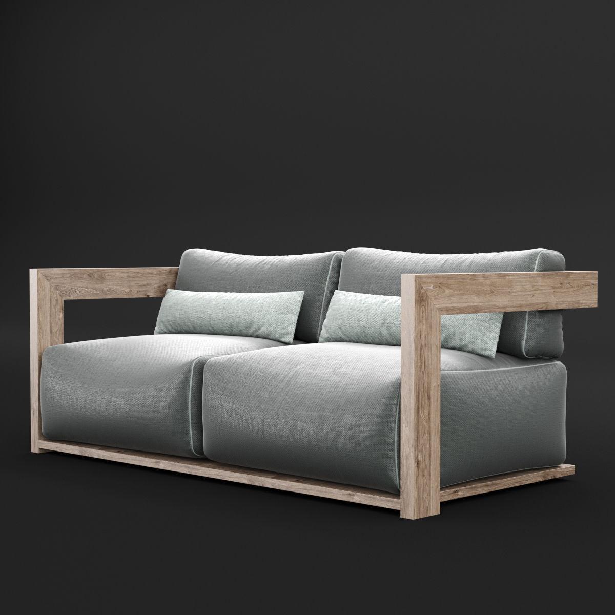 Reclaimed wood sofa 1 3D model MAX OBJ FBX