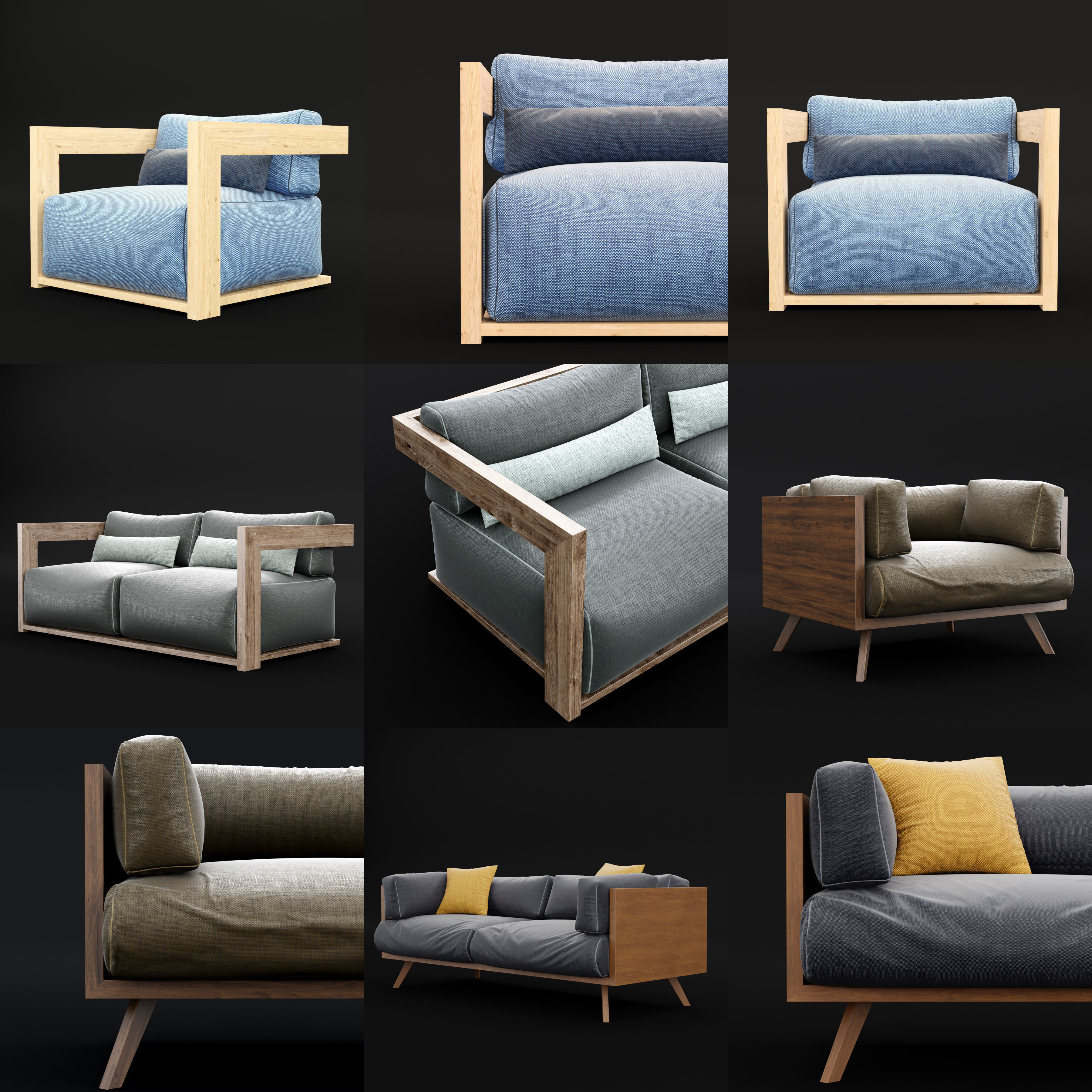 Reclaimed wood chair and sofa all 3D Model Collection MAX ...