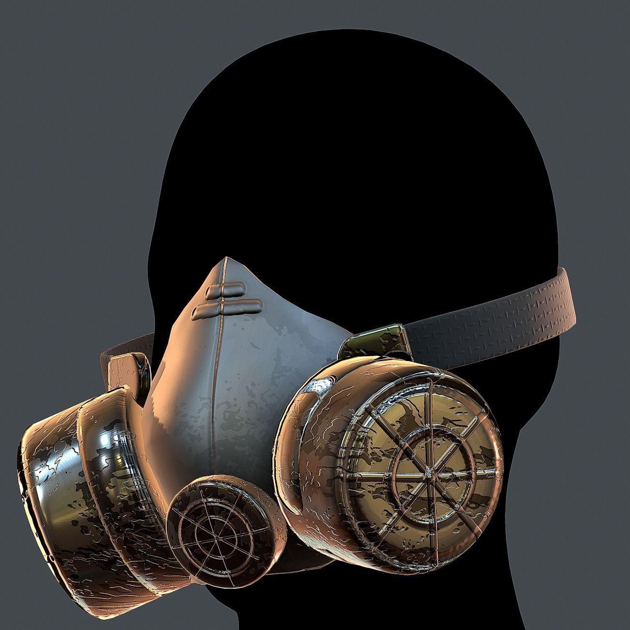Gas mask helmet 3d model scifi Low-poly Low-poly 3D model