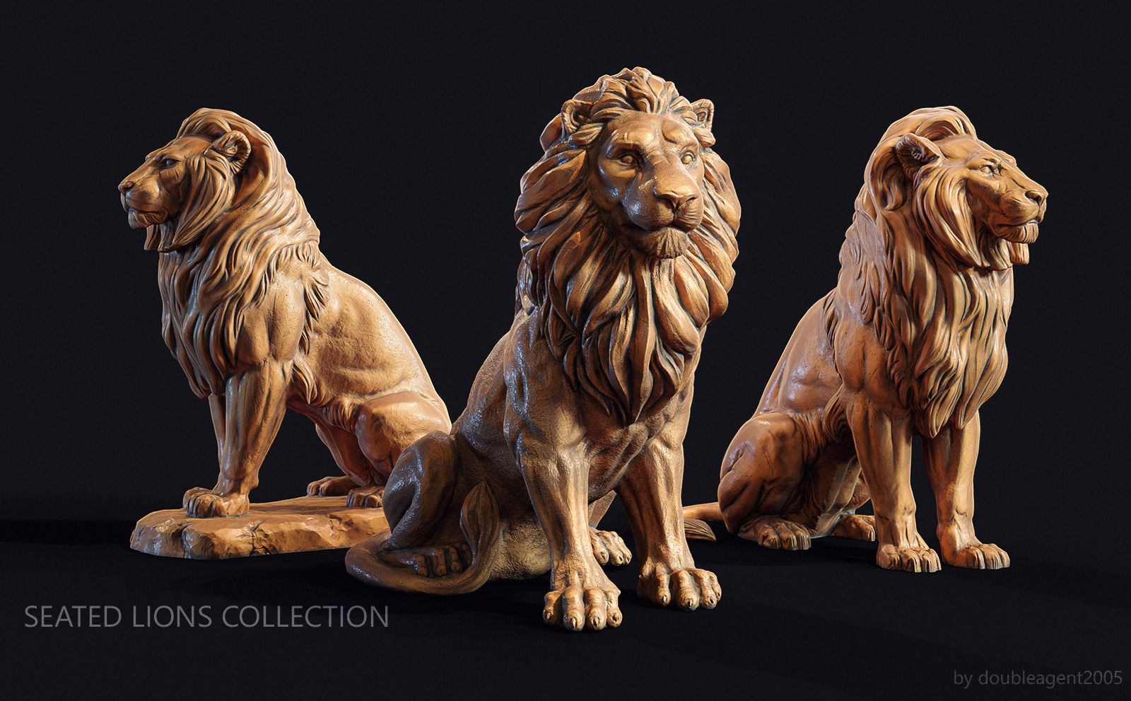 Seated lions  3 in 1 Collection