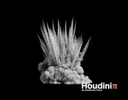 houdini - shrapnel explosion realtime animated 3d model