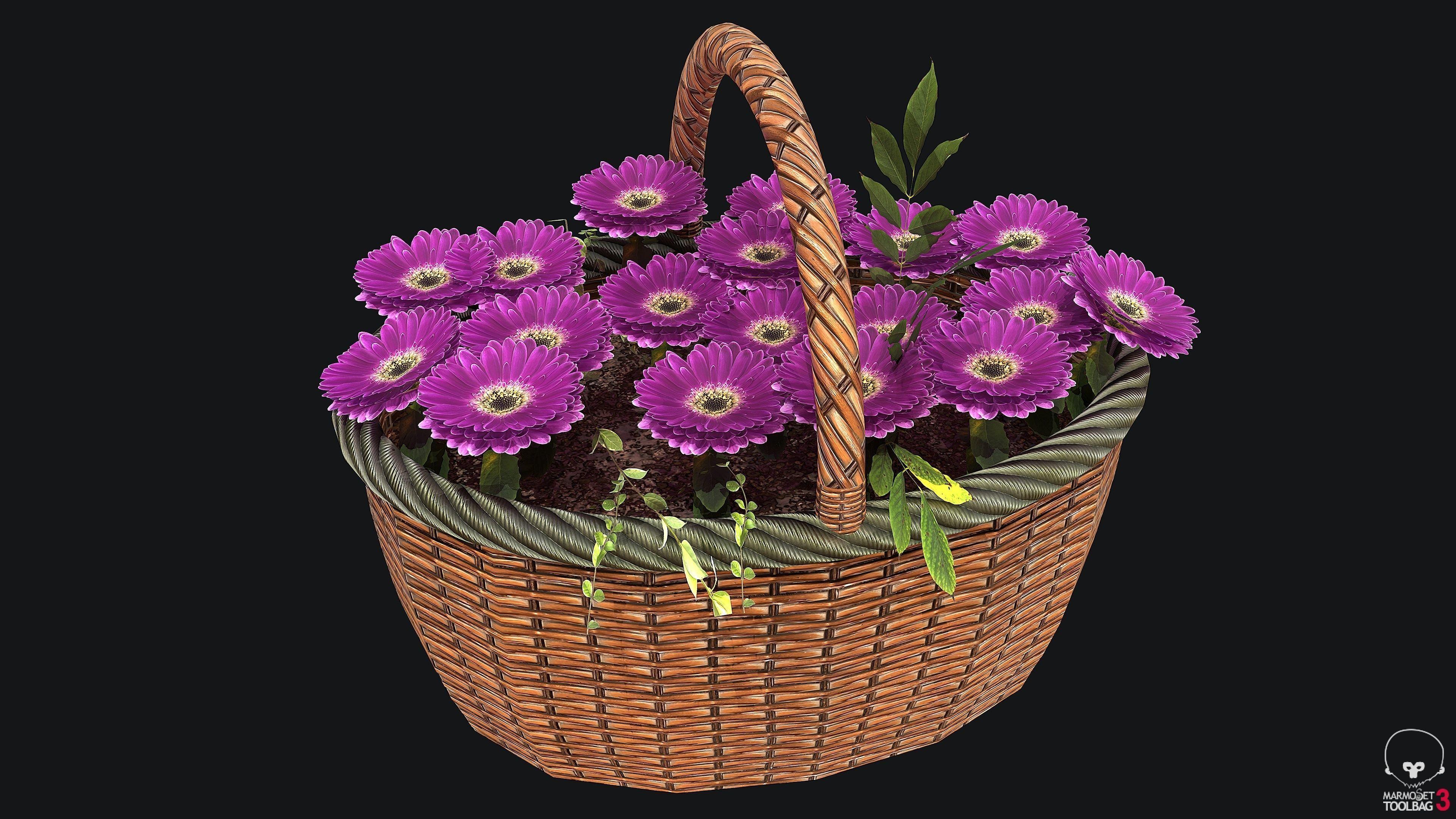 Wicker Basket with Flower PBR