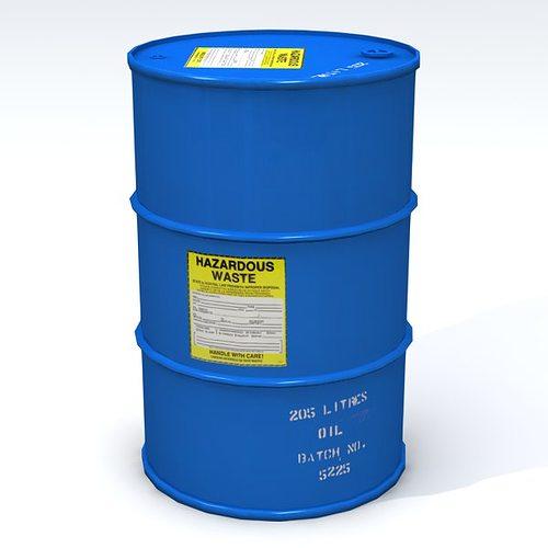 hazardous 55 gallon drum 3d model low-poly obj 3ds fbx lwo lw lws blend mtl 1