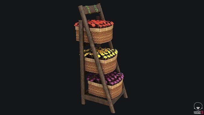 Wicker Basket with Flowers PBR