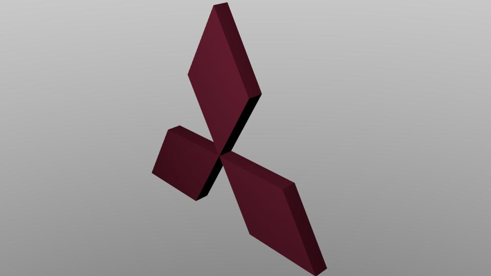 mitsubishi logo 3d model obj blend cgtradercom