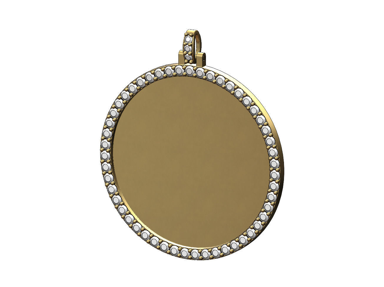 Large 40mm round diamond memory picture pendant