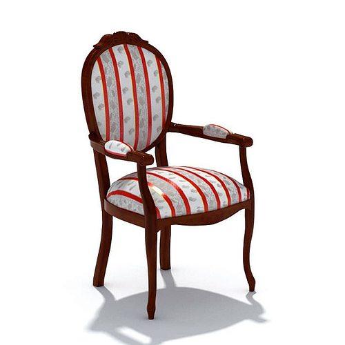 Wooden Armchair With Inbuilt Cushion 3d Model