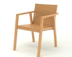 contemporary wooden armchair 3d model max obj