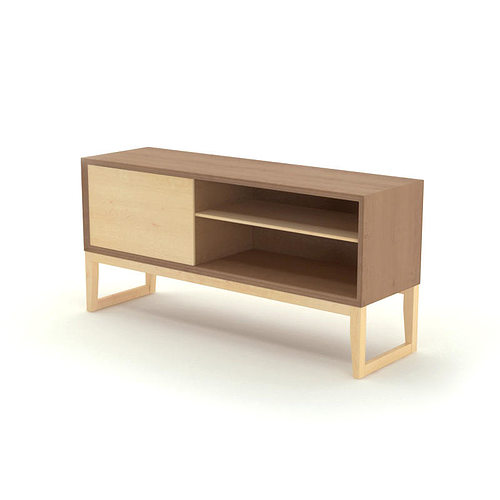 free contemporary wooden sideboard 3d cgtrader. Black Bedroom Furniture Sets. Home Design Ideas