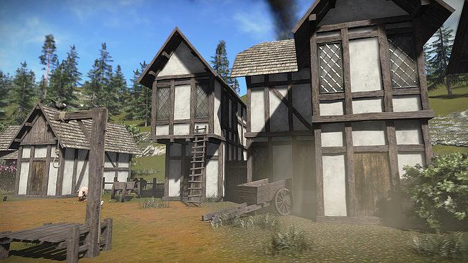 Free Medieval Buildings Sample Model 3d Model Low Poly Max Obj 3ds Fbx Dae  Mtl ...