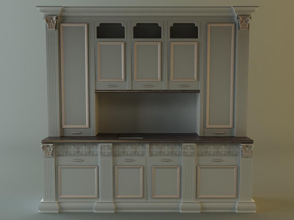 Kitchen Cabinet 3d Model Max 3ds Fbx 1