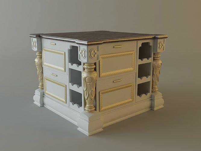 Kitchen Cabinet Bar 3d Cgtrader