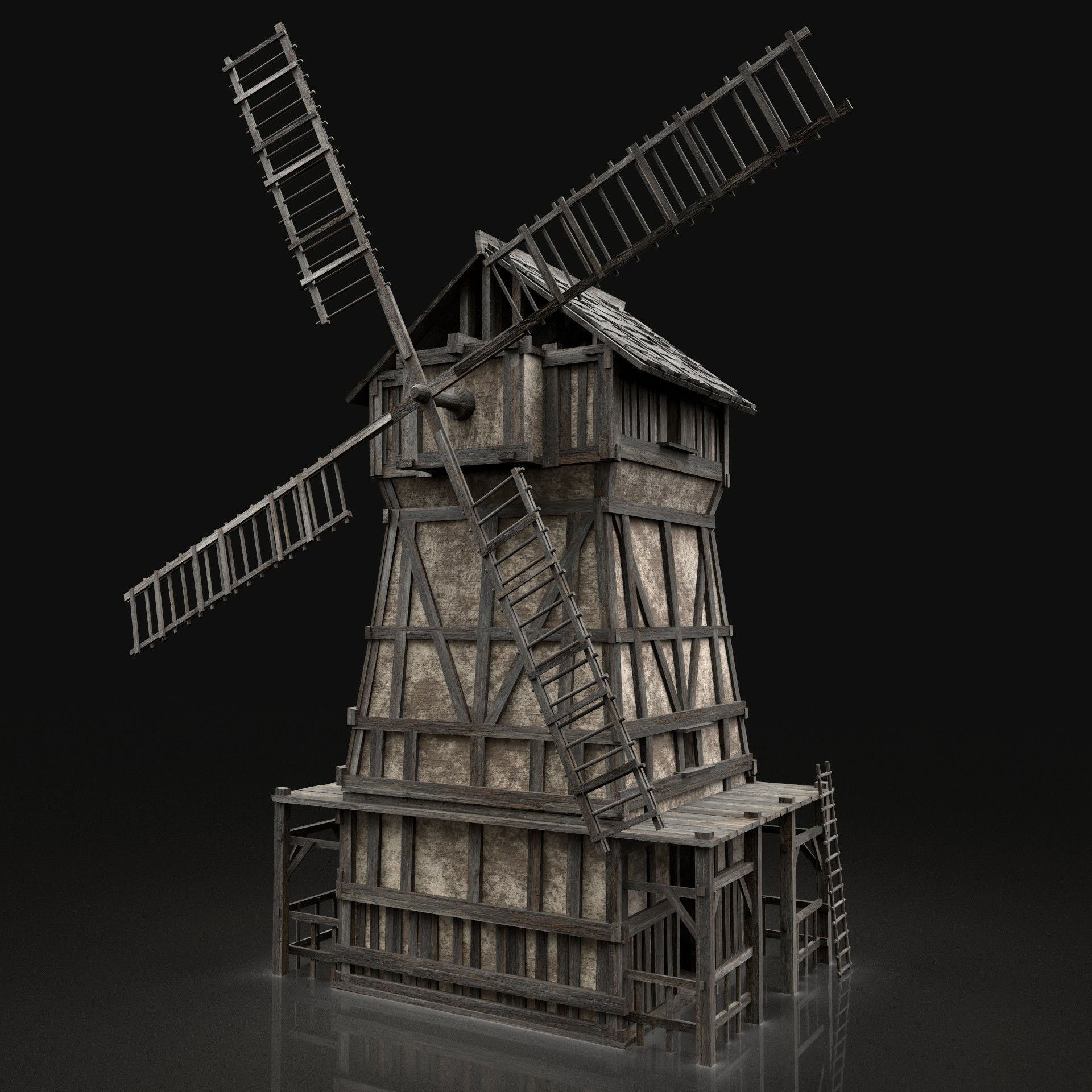 ENTERABLE AAA NEXT GEN MEDIEVAL CITY TOWN GRANARY WINDMILL SILO