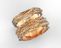 3D print model Wood textured wedding bands