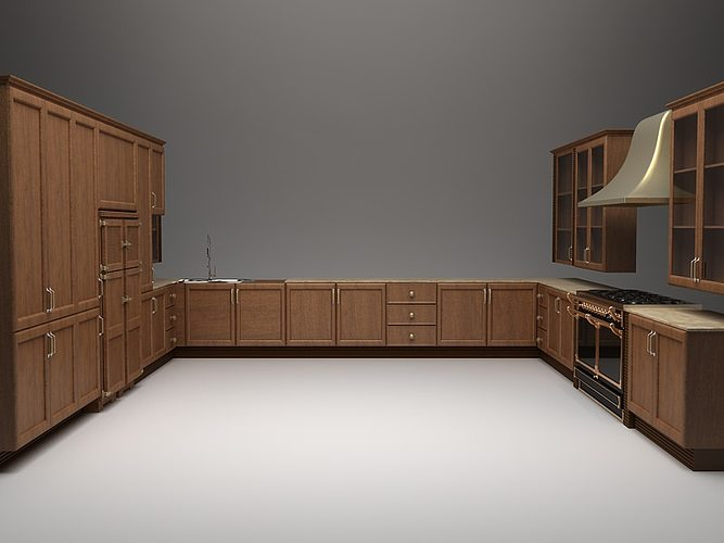 Complete Kitchen Cabinets Appliances 3d Model Cgtrader