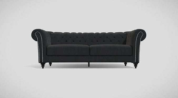 Vintage style upholstered black sofa with black wooden legs