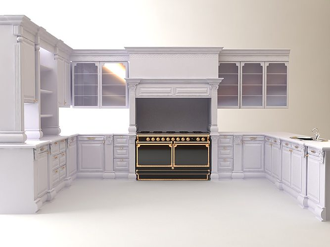 Kitchen Cabinets Appliances 3d Model Max 3ds Fbx Unitypackage Prefab 1