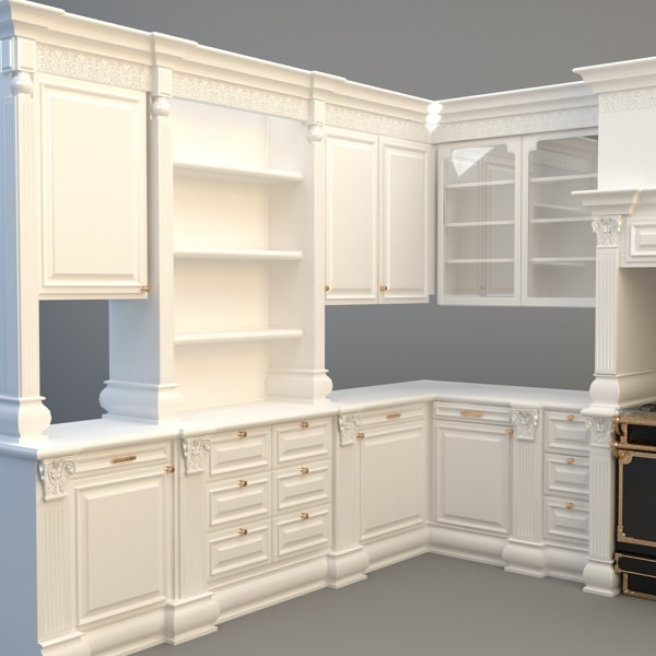 Kitchen Cabinets Appliances 3d Model Max 3ds Fbx Unitypackage Prefab 2