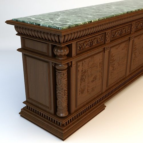 Antique Marble Top Bar 3D Model