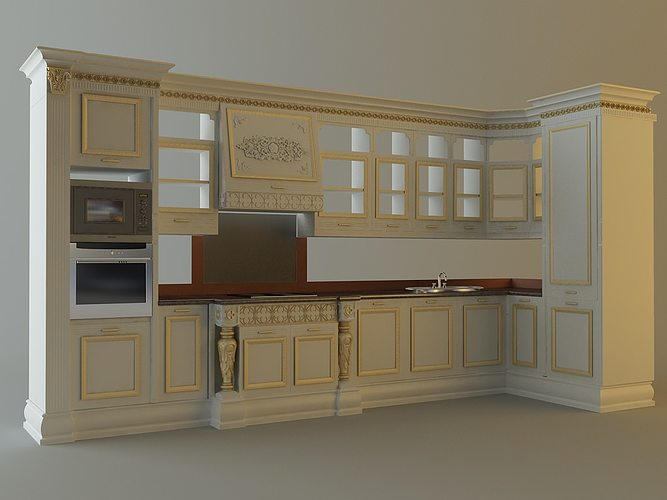 Kitchen cabinets appliances 28663 3d model max for Kitchen furniture 3ds max free
