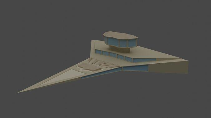 Futuristic Spaceship Low Poly Model