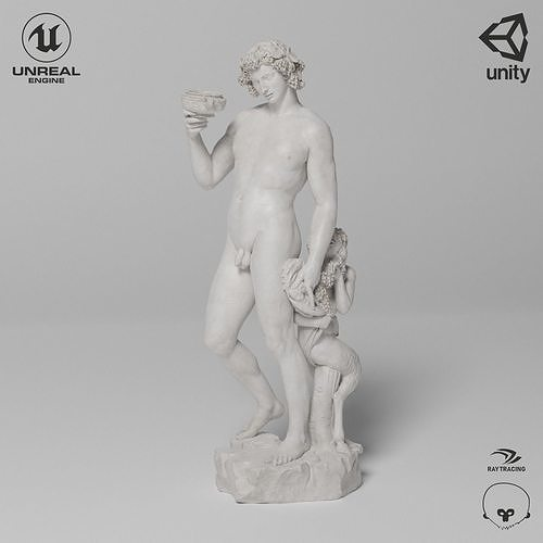 Bacchus Michelangelo Sculpture VR AR Mobile-ready Game-ready