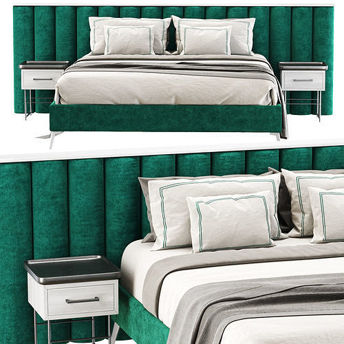 Modern velour green double bed GS69