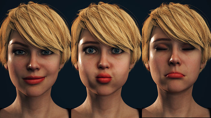Rigged Female Model with Facial Blend shapes