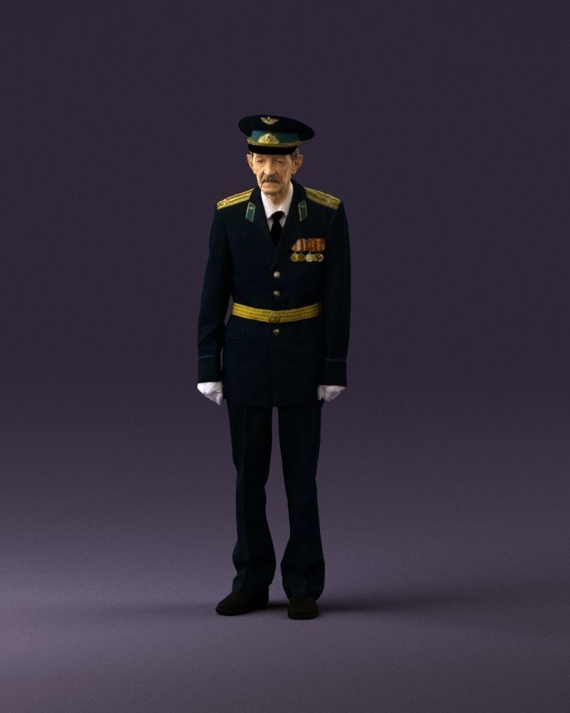 Old man in veteran suit 0915