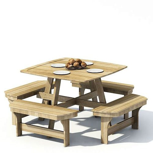 Wooden dining table 3d model for Table 3d model